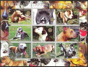 Kyrgyzstan 2004 Rotary Dogs Staffordshire Terrier Sheet of 9 MNH Cinderella !