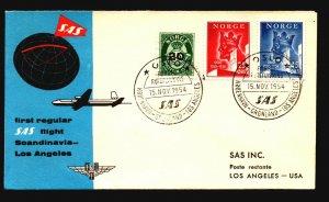 Norway 1954 SAS First Flight Cover to LA - Z17844