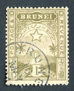 Brunei 1895. $1 yellow olive. Used. SG10.