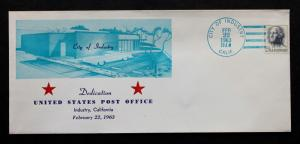 US Stamp Sc# 1213 on City of Industry  Post Office Dedication February 22, 1963