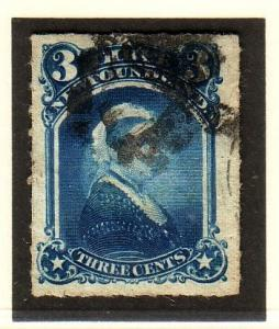 Newfoundland Sc 39 1877 3 Victoria stamp rouletted used