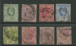 STAMP STATION PERTH Ceylon # Small early selection of 8 stamps ( 15c is wmk 3)