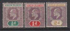 Virgin Islands, Scott 29-31 (SG 54-56), MHR