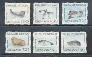 Greenland Sc 233-8 1991 Walrus Seals stamp set mint NH