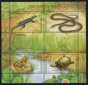 Moldova 505 MNH Reptiles, Snake, Turtle, Frog