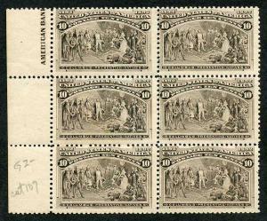 USA SG242 1893 10c Sepia Columbus Part imprint block of 6 U/M (MNH)