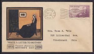 US Sc 737 FDC. 1934 3c Write a Letter to Mother, Mother's Day FDC