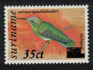 Suriname White-tailed Goldenthroat Bird No 865 surch 35 ct SG#1543