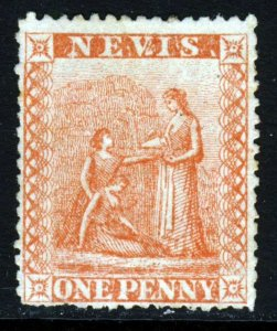 NEVIS Queen Victoria 1867 1d. Pale Red on White Paper Perf.15 SG 9 MNG