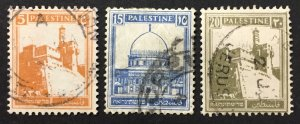 Palestine 1927-42 #63,67,77, Views, Used.