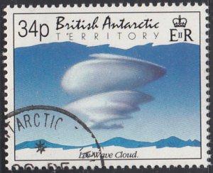 British Antarctic Territory 1992 used Sc #200 34p Lee wave cloud