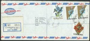 AITUTAKI 1972 registered cover - overprints on Cook Is.....................11629