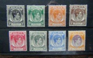 Straits Settlements 1937 - 41 values to 30c Dull Purple & Orange MM