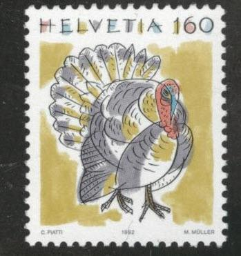 Switzerland Scott 879 MNH** Turkey Bird stamp 1992 CV$2
