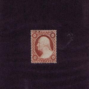 SC# 25 VAR UNUSED ORIGINAL GUM PH 3 CENT WASHINGTON, 1857 DRY PRINT, PF CERT