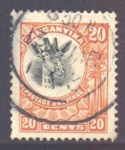 Tanganyika Scott 15 - SG77, 1922 Giraffe 20c used