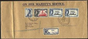 FIJI 1963 Registered OHMS cover to NZ......................................93658