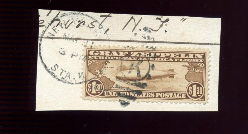 Scott #C14 Graf Zeppelin Air Mail Used Stamp on Small Piece (Stock #C14-137)
