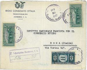 HONDURAS -  POSTAL HISTORY - REGISTERED  COVER to ITALY 1937