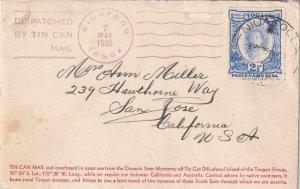 1935, Niuafoou, Tonga to San Jose, CA, Tin Can Canoe Mail (42964)