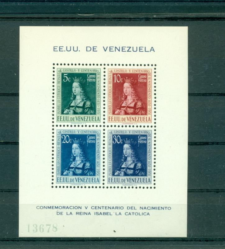 Venezuela - Sc# C333a. 1951 500th Ann. Birth Queen Isabella. MNH SS. $24.00.