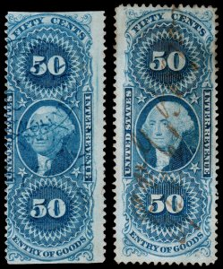 United States Revenue Scott R55b, R55c (1862-71) Used F, CV $18.10 W