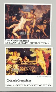 Grenada Grenadines #972-973 Titian Art 2v S/S Imperf Proofs