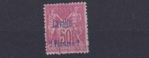 FRENCH COLONIES CAVALLE  1893   SG 47   2PI ON 50C   ROSE     USED   CAT £70