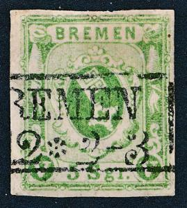 GERMAN STATES-BREMEN 4, USED 4 MARGIN, 5 Sgr GREEN
