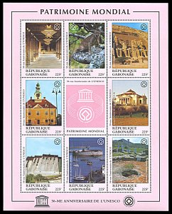 Gabon 852, MNH, 50th Anniversary of UNESCO miniature sheet, Heritage Sites