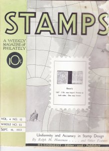 Stamps Weekly Magazine of Philately September 16, 1933 Stamp Collecting Magazine