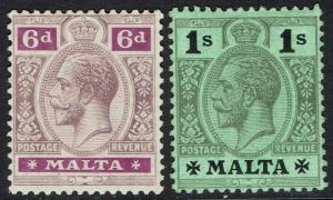 MALTA 1914 KGV 6D AND 1/- WMK MULTI CROWN CA