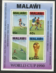 MALAWI Sc#569a 1990 World Cup Soccer Souvenir Sheet OG Mint Hinged