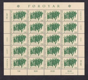 Faroe Islands #63-64  MNH 1981  Europa  in sheets of 20 stamps each