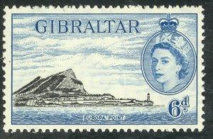 GIBRALTAR 1953 QE2 6d Black & Blue (1957) SG No. 153a / Sc 140  MNH