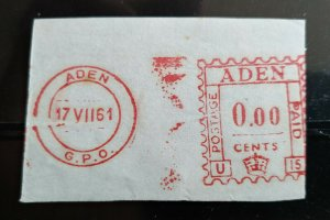 """VERY RARE ADEN BRITISH PERIOD ONLY 7 KNOWN """"PROOF"""" """"POSTAGE PAID"""" HARD TO FIND"""