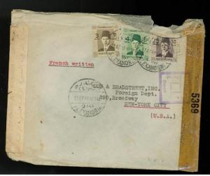 1943 Alexandria Egypt  to USA Dual Censored cover