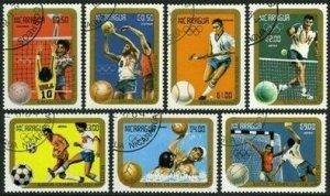 Nicaragua 1366-1372,CTO.Michel 2522-2528. Olympics Los Angeles-1984.Ball games.