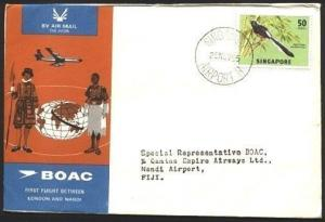 SINGAPORE 1965 BOAC first flight cover to Fiji - Nadi arrival backstamp...71659W