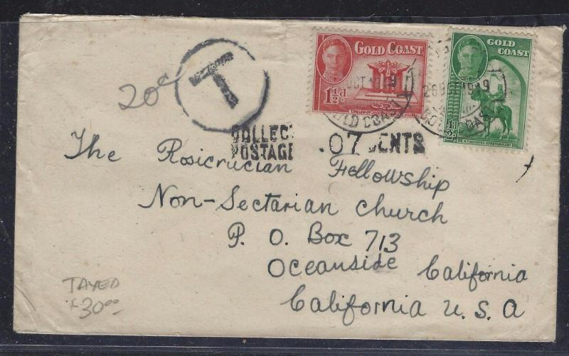 GOLD COAST (P1609B) 1949 KGVI 1/2D+1 1/2D TAXED COVER TO USA