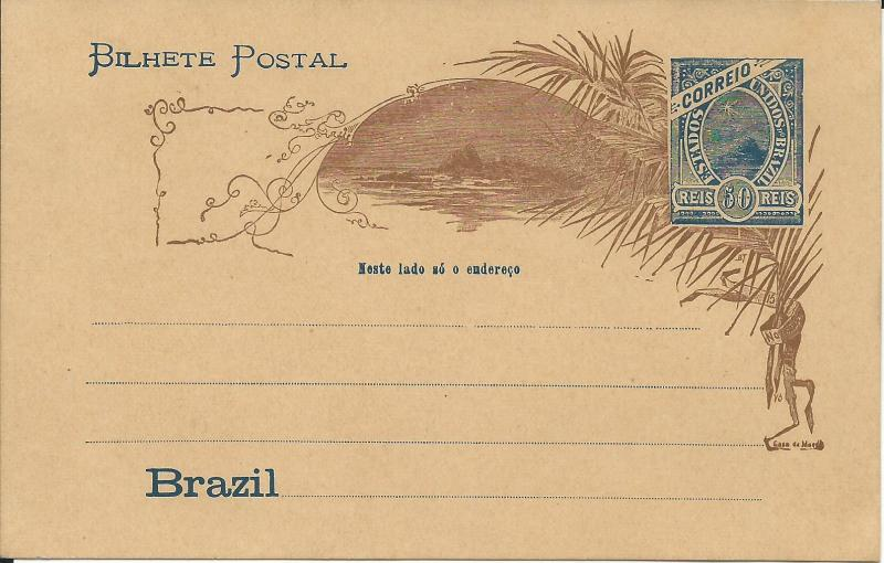 1894 Brazil Unused Post Card Imprinted With Scott Catalog Number 115