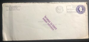 1941USA Stationery Cover to Agana Guam Island Returned Service Suspended