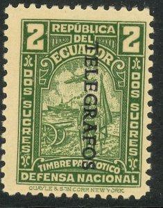 ECUADOR TELEGRAPH STAMPS 1945 2s Green Hiscocks No. 121 MINT NH