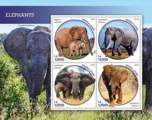 SIERRA LEONE - 2019 - Elephants - Perf 4v Sheet - MNH