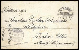 Germany 1905 WINDHUK ANICHA SW Africa Herero Uprising Feldpost DSWA Cover 83922
