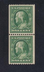 US 385 1c Franklin Pair Mint VF OG LH SCV $110