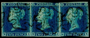 SG13, 2d pale blue, USED. Cat £825+. STRIP OF 3. BLACK MX.