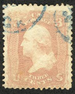 US #64 SCV $600.00 VF, used, TRUE PINK COLOR, very well centered, lovely blue...