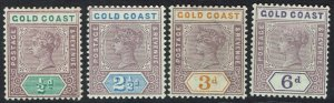 GOLD COAST 1898 QV 1/2D 21/2D 3D AND 6D