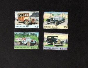 NORFOLK ISLAND MNH SET OF 4 VINTAGE CAR STAMPS SCOTT # 569 - 572